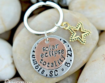 Solar Eclipse Totality Commemorative Keychain Or Necklace - Souvenir - Space Fan Gift - Special Event Remembrance - Unisex