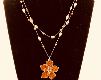 Necklace with Hibiscus Pendant and Double Strand Beaded Chains
