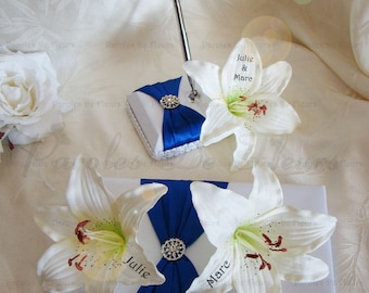 Guest book and penholder Royal Blue with Lily like to customize color choice