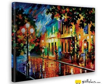 Modern paintings-Lenoid Afremov-Night flowers-yellow BUS