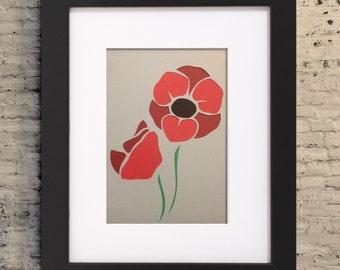 "5x7"" Poppy Wall Art, Poppy Cutout, Paper Cutout Illustration, Poppy Flower Gift, Flower Cut Out, Poppy Flowers, Poppies"