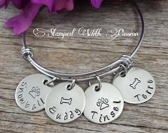 Pet bracelet - personalized pet name charm bracelet  - Dog  - Cat - Horse - furbaby - Fur mom bangle