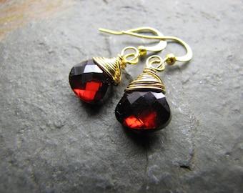 Garnet earrings  Glass crystal teardrop and gold wire wrapped drop dangle earrings bridesmaids earrings wholesale clearance