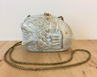Timmy Woods of Beverly Hills White Gold Fish Purse