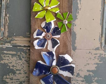 Spring garden trellis flowers made with broken pottery, in cobalt blue and various greens
