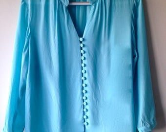 Light Blue / Turquoise Silk Shirt with Three Quarter Sleeves