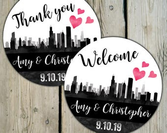 Chicago Skyline Favor Labels, Personalized Wedding Welcome Stickers, City of Chicago Wedding Stickers, Illinois Destination Wedding Labels
