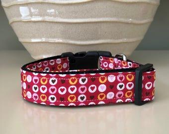 Dog Collar - Valentine Multicolored Hearts in Circles