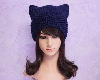 Cat Hat, Cat Ears, Cat Ears Beanie, Blue Cat Beanie, Blue Hat, Chunky Cat Hat, Winter Accessories, Holiday Fashion, Winter Hat