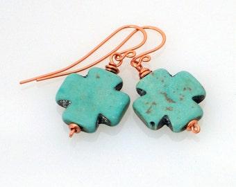 Teal Swiss Cross and Copper Earrings, Rustic and Handmade Dangle Earrings, Christian Jewelry, Swiss Jewelry