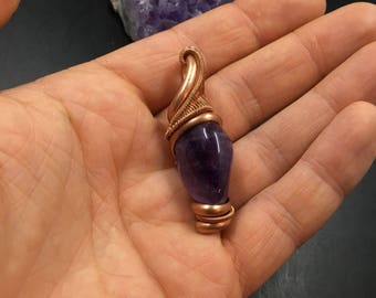 Amethyst and copper pendant