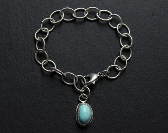 """READY TO SHiP- Royston Turquoise Textured Chain Link Sterling Silver Bracelet #002 