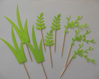 Jungle Greenery Cupcake Toppers - Gender Neutral Baby Shower Decorations - Birthday Party Decorations - Set of 12