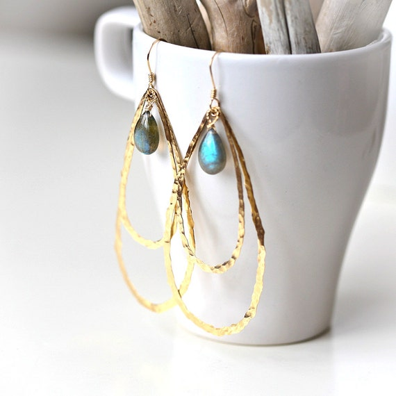 Peacock - Hammered Hoops and Labradorite - Brass Gold Filled Wire Wrapped Earrings
