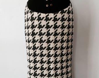 Vintage Houndstooth Midi Skirt