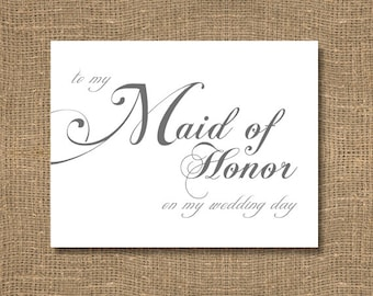 To My Maid of Honor On My Wedding Day Card | Beautiful Scripted Look for an Elegant Wedding | Perfect Way to Say Thanks for Being a Part