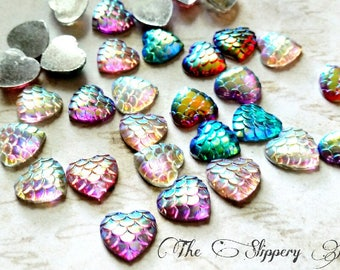 Mermaid Scale Cabochons 12mm Cabochons Heart Cabochons Dragon Scale Cabochons Flat Back Embellishments 6 pieces