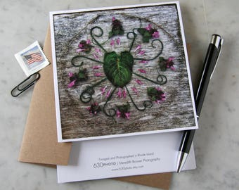Chive Swirl Mandala ~ One 5x5 Square Note Card (with envelope, blank inside, no message)