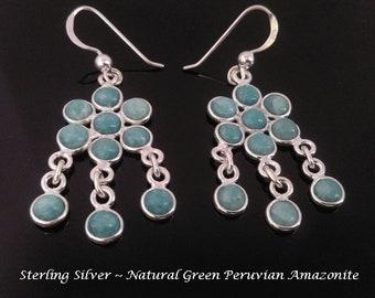 Chandelier Earrings: Sterling Silver Earrings with Green Peruvian Amazonite Gemstones | Gemstone Earrings, Jewelry, Gifts for Women, 429