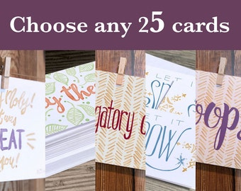 Choose any 25 cards from my shop. Buy a Card, Feed a Baby. Includes Envelopes.