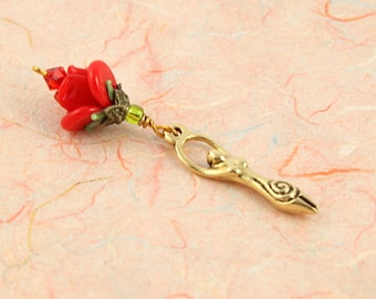 Blessingway bead - Golden Red Rose Goddess - Mother Blessing bead, mama goddess