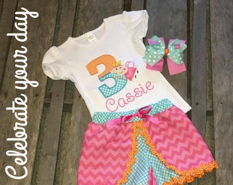 Peppa Inspired Girls Birthday Outfit, Shirt, Pants, Shorts, Skirt