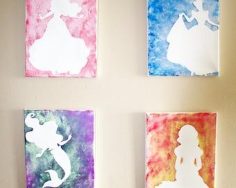 Set of 4 Princess Silhouette Canvas Art