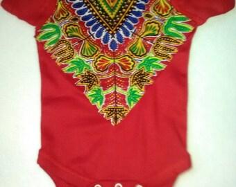 Red Dashiki African Baby Dashiki Bodysuit Creeper