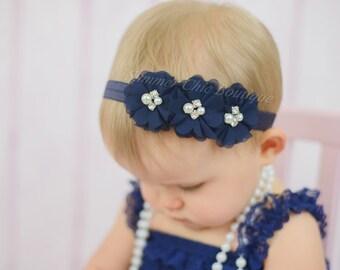 Navy Baby Headband, Infant Headband, Newborn Headband -Navy Headband, Navy Headband,Chiffon and Pearls Flower Headband