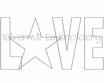 Raggy Applique Love With A Star Machine Embroidery Design - 4 Sizes