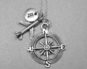 Airplane necklace, compass necklace, airplane compass necklace, flight attendant, travel necklace, graduation gift, personalized necklace