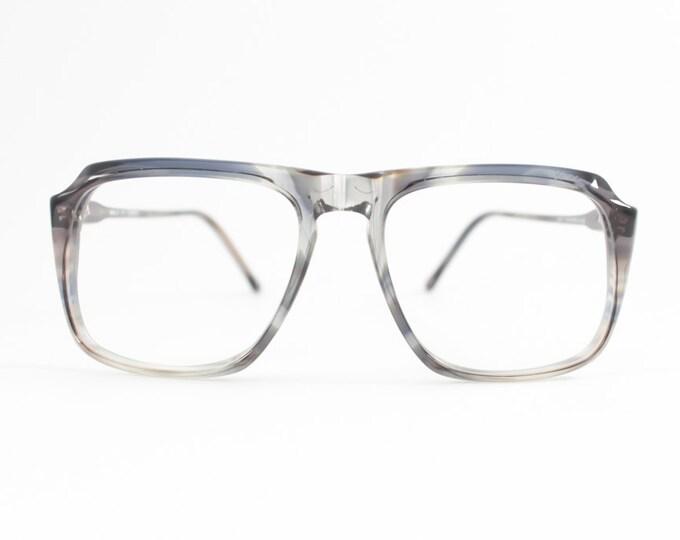 80s Vintage Glasses   Clear Grey NOS Eyeglass Frame   1980s Aviator Style Eyeglasses - Peninsula Smoke