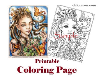 Coloring Page - Butterfly Fairy illustration Instant Download Printable File