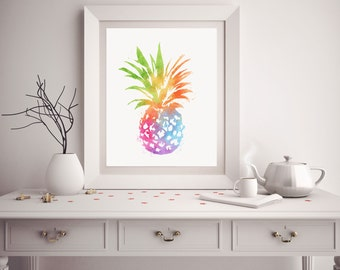 Pineapple Print - Watercolor Pineapple - Pineapple Art - Pineapple Watercolor Art - Tropical Decor - Pineapple Wall Art - Tropical Print