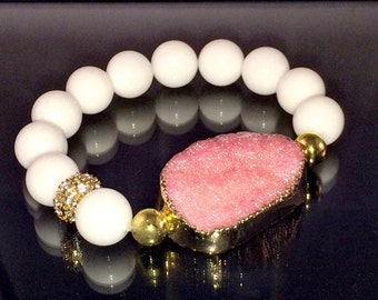 Large Pink Druzy Quartz Bracelet, edged in Gold with 12mm White Jade beads and one Gold Pave bead stretch Bracelet