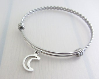 Hollow Crescent Moon Charm Stainless Steel Bangle, Silver Moon Charm Bracelet, Adjustable Bangle, Space Bangle, Space Gift, Night Sky Gift