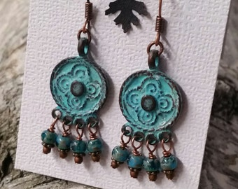 Sweet Vertigris Patina, Chandelier Earrings