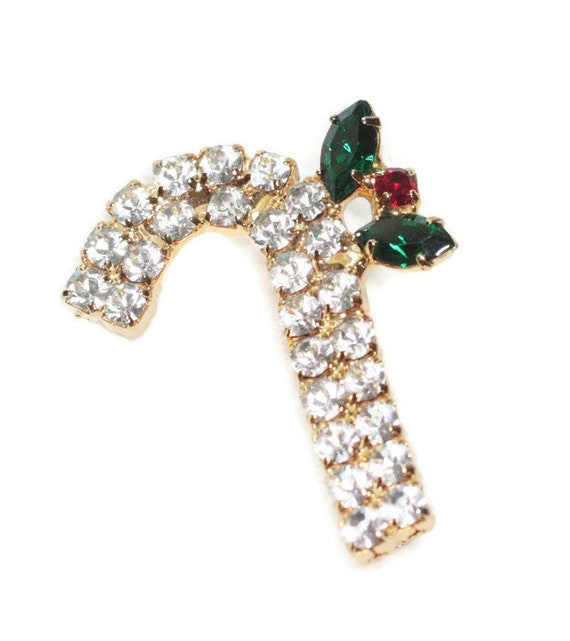 Rhinestone Candy Cane Pin Christmas Holiday Jewelry Clear Rhinestones Smaller Brooch