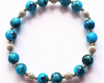 Blue and Silver Miracle Beaded Bracelet Elasticated