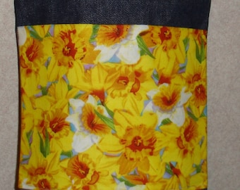 New Small Handmade Daffodil Garden Denim Tote Bag Purse