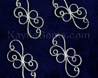 Silver Victorian Floral Curvy Wire Connectors -CNR-P2830SP -8pcs