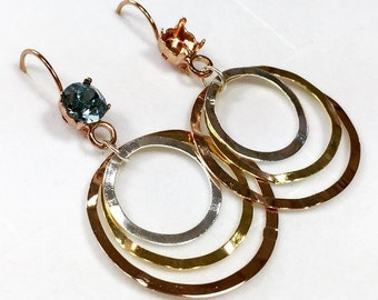 Dangle Earrings ,empty SS39 on lever-back. combination of gold rose gold and silver  - TR19RP