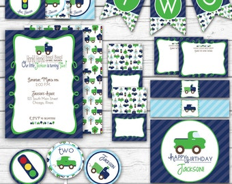 Cars Birthday Party, Cars and Trucks, Boy's Birthday, Cars Party Printables, Navy and Green, Printable Party Package
