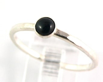Onyx Cabochon Sterling Silver Stacking Ring