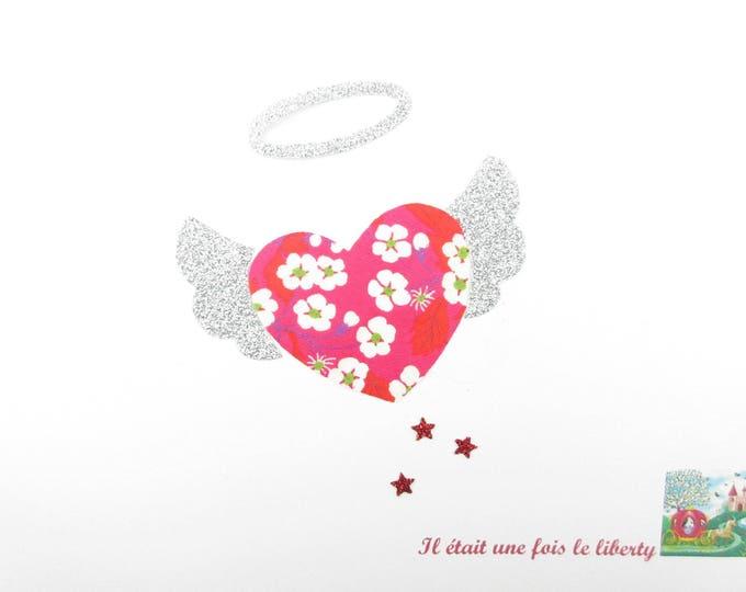 Appliqué thermocollant coeur en liberty Mitsi rouge & flex pailleté argent