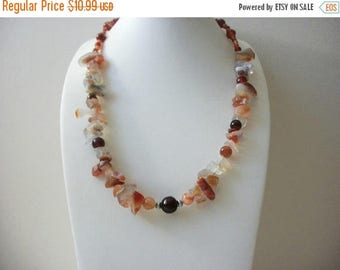 ON SALE Vintage 1950s Semi Precious Stone Chips Necklace 32017