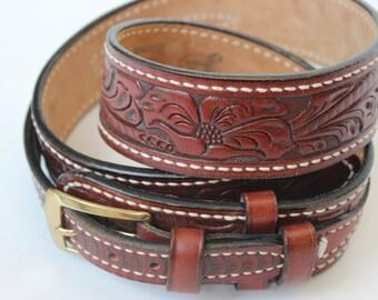 Vintage Justin Leather Brown Belt Tooled top Grain Cowhide Ernest Devore Shoe Shop Joplin Missouri Devores Western Shop