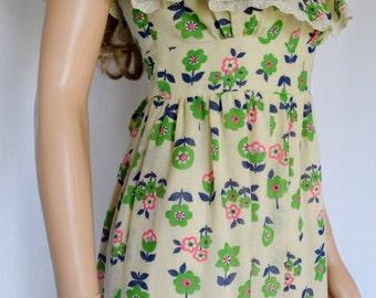 Vintage 1970's YOUNG EDWARDIAN Arpeja NeoN FLoWeR HiPPiE BoHo Woodstock Prairie Dress S