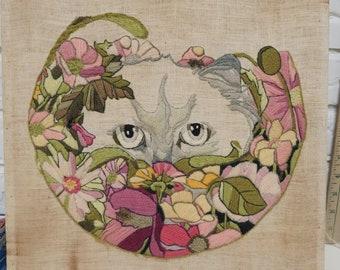 Kitten Needlepoint Embroidered, White Cat watching you through the flower garden, Cat, Feline, Pillow cover, Wall decor, Artwork