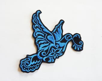 Applied shield embroidery patch fusible Dove blue